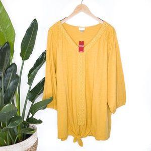 Avenue Yellow V Neck Front Knot Top Plus Sz 22/24